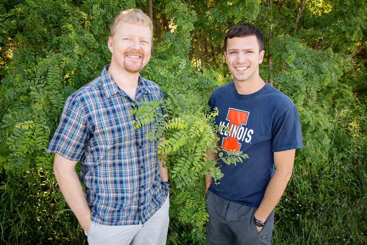Researchers at the U. of I. found that plants vary a lot in the efficiency with which they uptake carbon dioxide and conserve water. Plant biology professor Andrew Leakey, left, mentored Kevin Wolz, who was an undergraduate at the time he conducted the research. Wolz now holds degrees in civil engineering and biology and is pursuing a doctorate in biology.  Researchers at the U. of I. found that plants vary a lot in the efficiency with which they uptake carbon dioxide and conserve water. Plant biology professor Andrew Leakey, left, mentored Kevin Wolz, who was an undergraduate at the time he conducted the research. Wolz now holds degrees in civil engineering and biology and is pursuing a doctorate in biology.