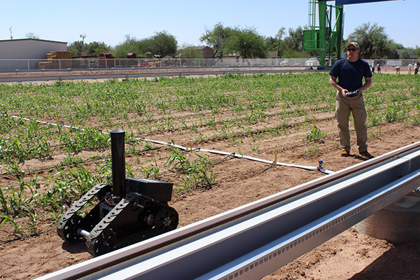 Research Assistant Professor of Civil and Environmental Engineering at Illinois Joshua Peschel demonstrates the TERRA-Mobile Energy-Crop Phenotyping Platform (MEPP) at the Maricopa Agricultural Center in Arizona.